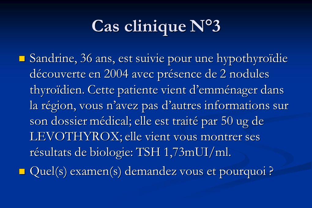 Cas clinique N°3 Sandrine, 36 ans, est suivie pour une hypothyroïdie découverte en 2004 avec présence de 2 nodules thyroïdien. Cette patiente vient de