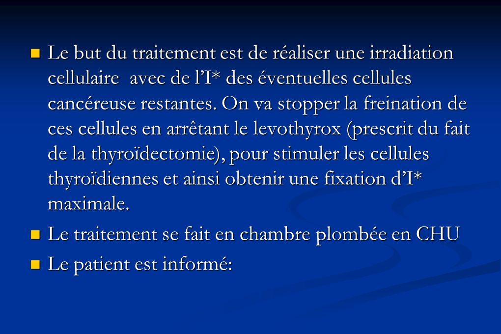 Le but du traitement est de réaliser une irradiation cellulaire avec de lI* des éventuelles cellules cancéreuse restantes. On va stopper la freination