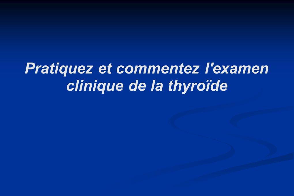Bilan thyroidien hormonal: TSH: 4.1; T4: 13.6 Bilan thyroidien hormonal: TSH: 4.1; T4: 13.6 SCINTIGRAPHIE: lobe dt légèrement hyperfixant SCINTIGRAPHIE: lobe dt légèrement hyperfixant RP: vérifier labsence de compression trachéale: RP: vérifier labsence de compression trachéale: RP normale RP normale quel(s) conseil(s) donnez vous au patient ?