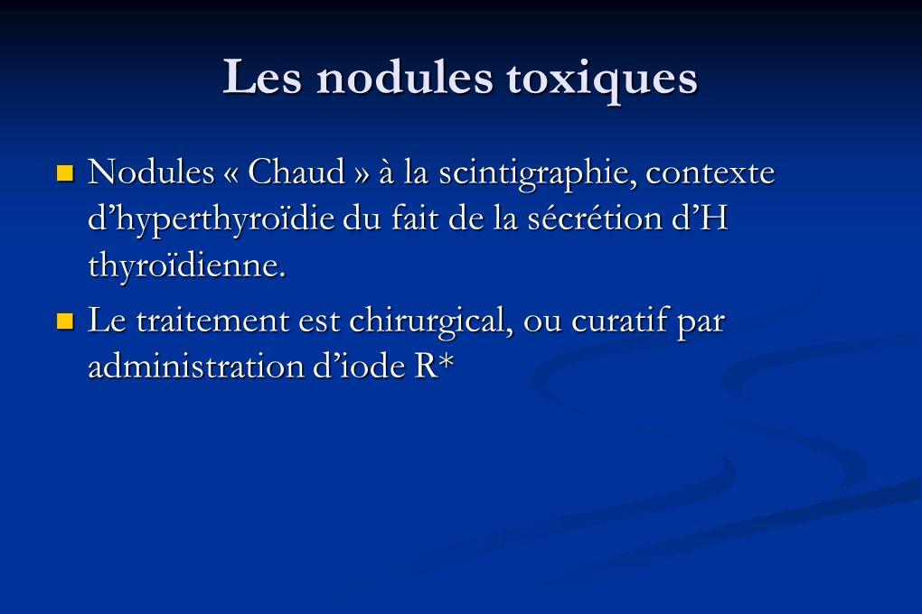 Les nodules toxiques Nodules « Chaud » à la scintigraphie, contexte dhyperthyroïdie du fait de la sécrétion dH thyroïdienne. Nodules « Chaud » à la sc