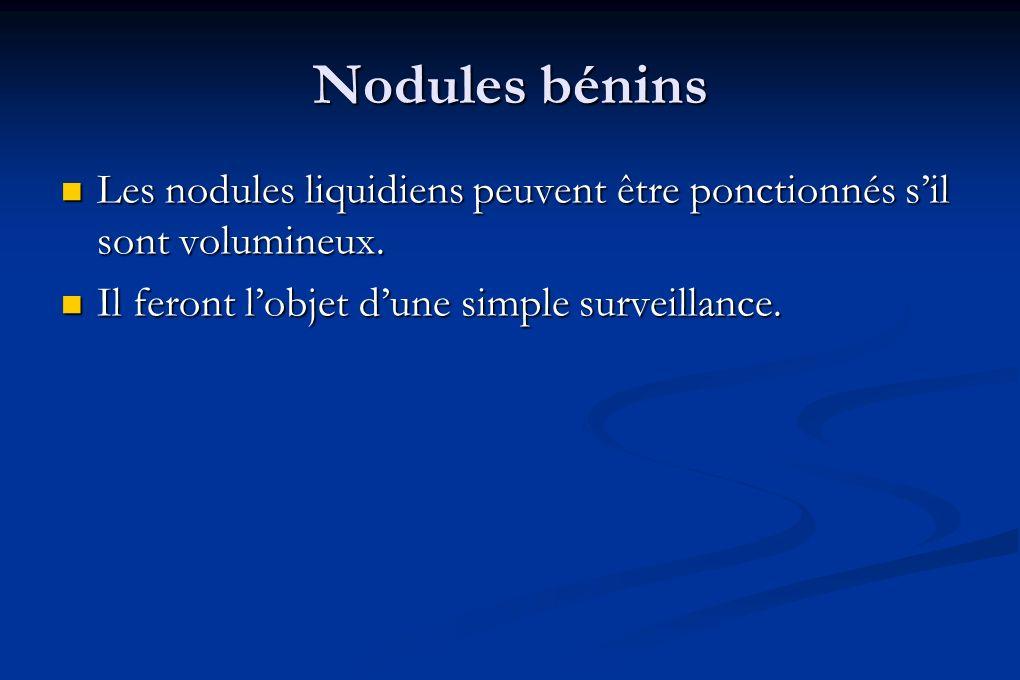 Nodules bénins Les nodules liquidiens peuvent être ponctionnés sil sont volumineux. Les nodules liquidiens peuvent être ponctionnés sil sont volumineu