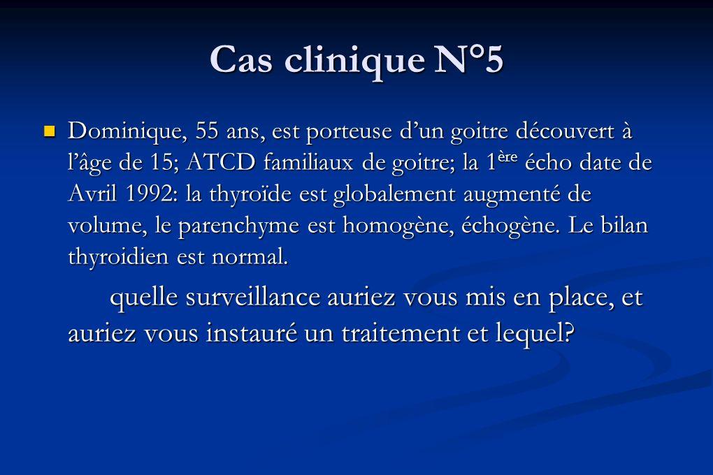 Cas clinique N°5 Dominique, 55 ans, est porteuse dun goitre découvert à lâge de 15; ATCD familiaux de goitre; la 1 ère écho date de Avril 1992: la thy