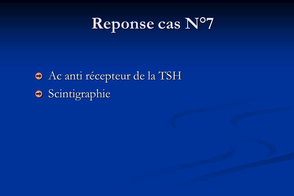 Reponse cas N°7 Ac anti récepteur de la TSH Ac anti récepteur de la TSH Scintigraphie Scintigraphie