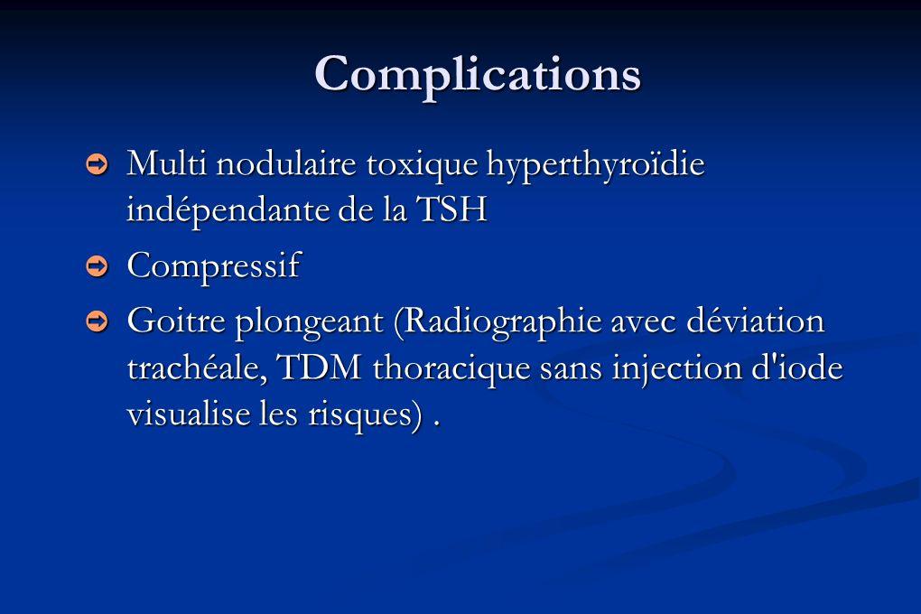 Complications Multi nodulaire toxique hyperthyroïdie indépendante de la TSH Multi nodulaire toxique hyperthyroïdie indépendante de la TSH Compressif C