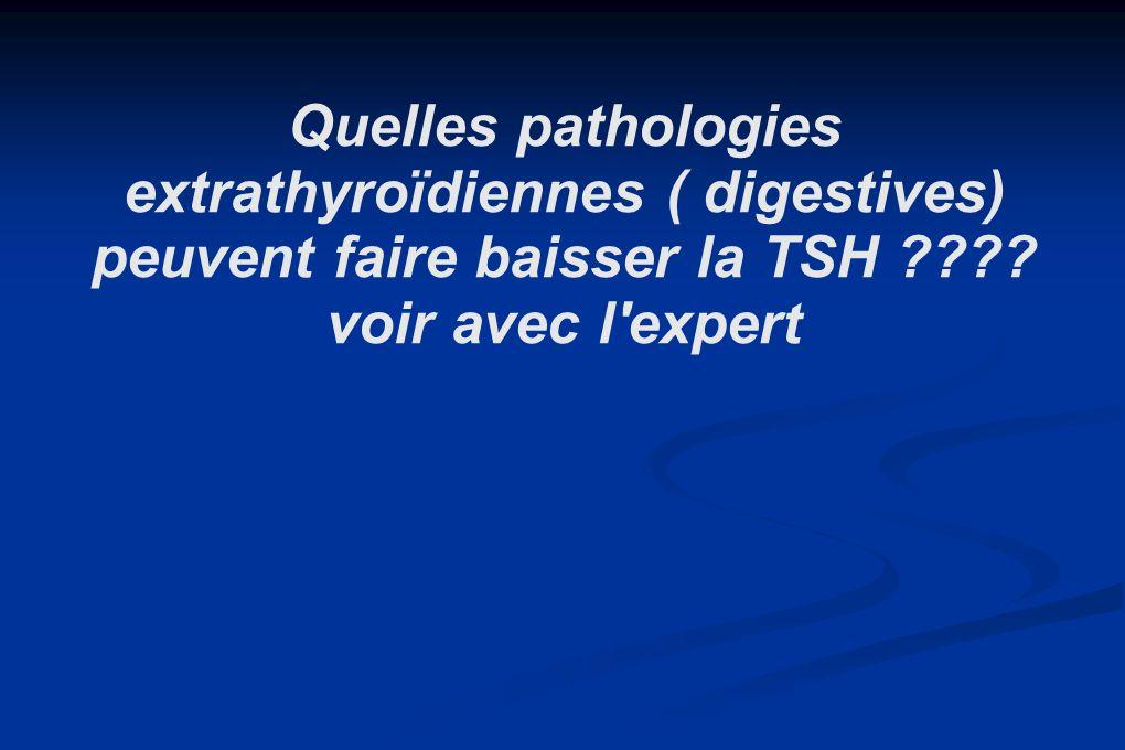 Quelles pathologies extrathyroïdiennes ( digestives) peuvent faire baisser la TSH ???? voir avec l'expert