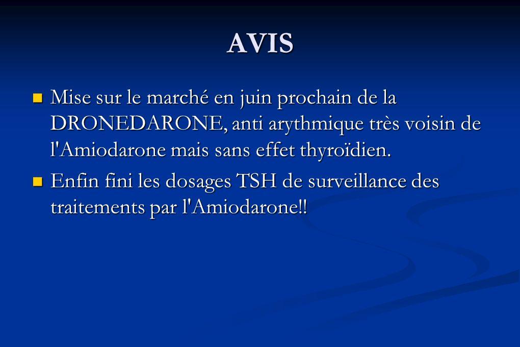 AVIS Mise sur le marché en juin prochain de la DRONEDARONE, anti arythmique très voisin de l'Amiodarone mais sans effet thyroïdien. Mise sur le marché