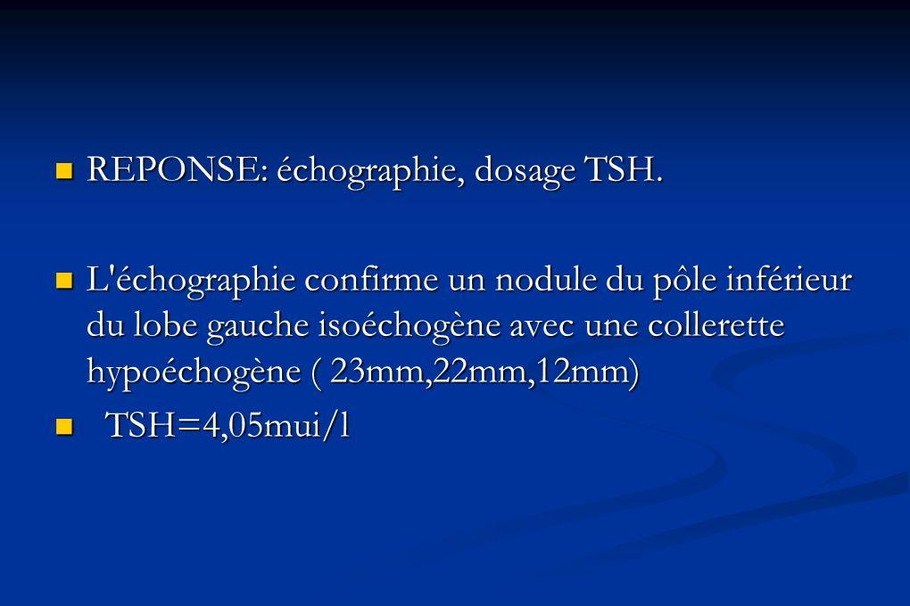 REPONSE: échographie, dosage TSH. REPONSE: échographie, dosage TSH. L'échographie confirme un nodule du pôle inférieur du lobe gauche isoéchogène avec