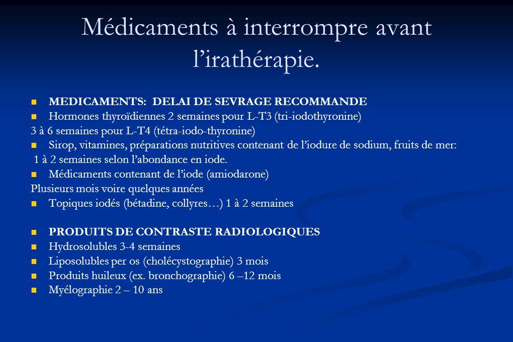 Médicaments à interrompre avant lirathérapie. MEDICAMENTS: DELAI DE SEVRAGE RECOMMANDE Hormones thyroïdiennes 2 semaines pour L-T3 (tri-iodothyronine)