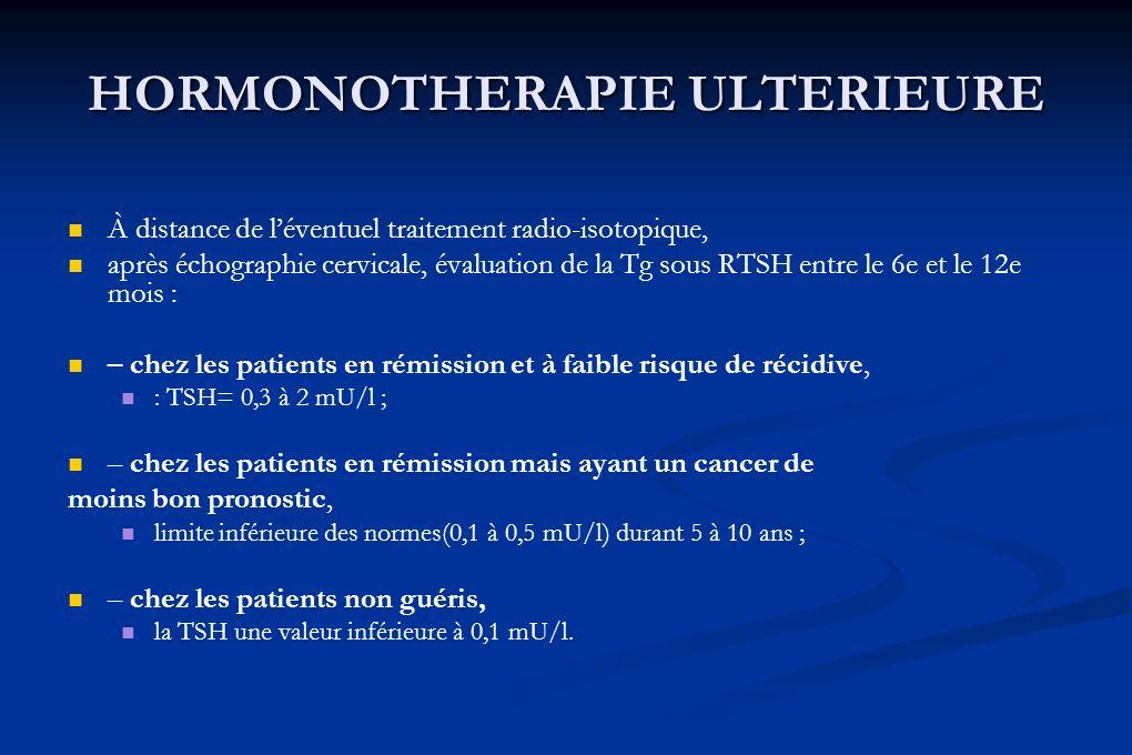 HORMONOTHERAPIE ULTERIEURE À distance de léventuel traitement radio-isotopique, après échographie cervicale, évaluation de la Tg sous RTSH entre le 6e