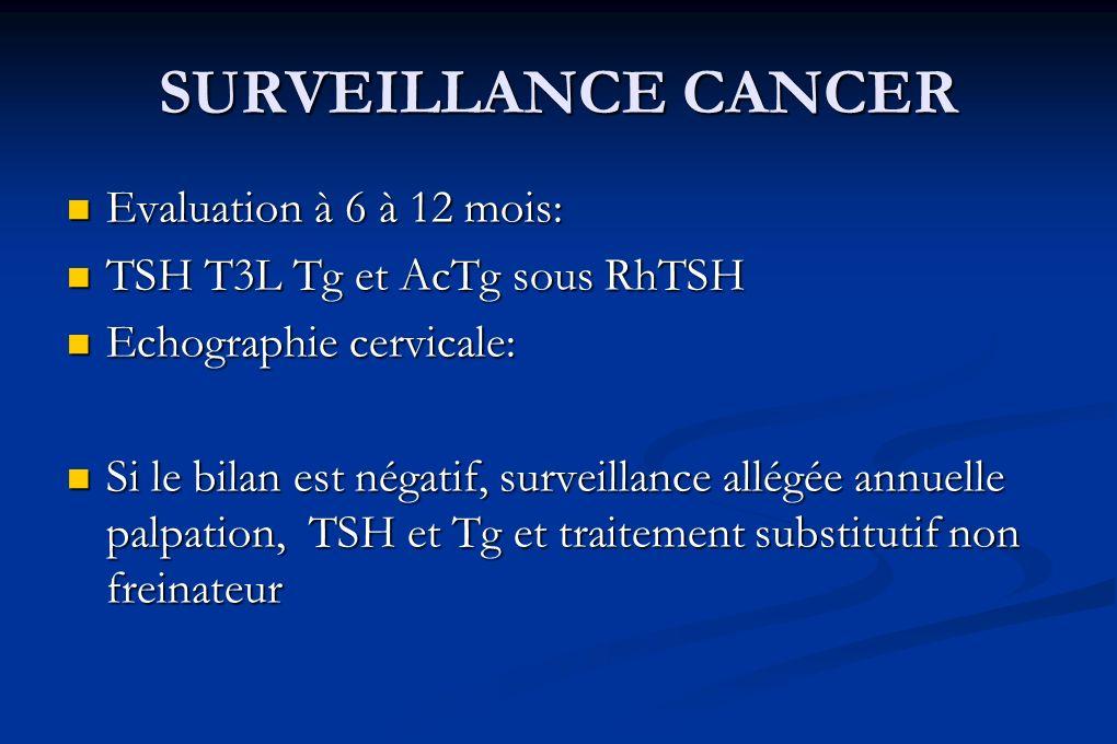 SURVEILLANCE CANCER Evaluation à 6 à 12 mois: Evaluation à 6 à 12 mois: TSH T3L Tg et AcTg sous RhTSH TSH T3L Tg et AcTg sous RhTSH Echographie cervic