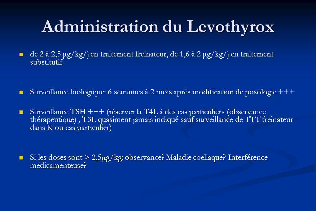 Administration du Levothyrox de 2 à 2,5 μg/kg/j en traitement freinateur, de 1,6 à 2 μg/kg/j en traitement substitutif Surveillance biologique: 6 sema