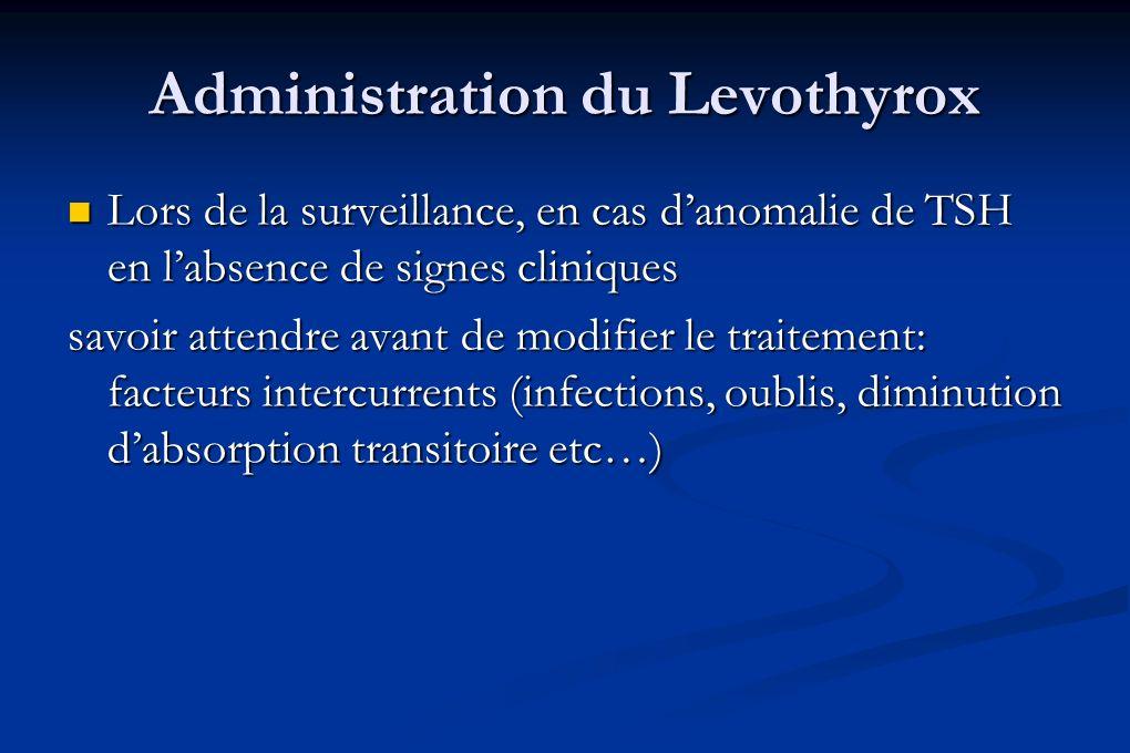 Administration du Levothyrox Lors de la surveillance, en cas danomalie de TSH en labsence de signes cliniques Lors de la surveillance, en cas danomali