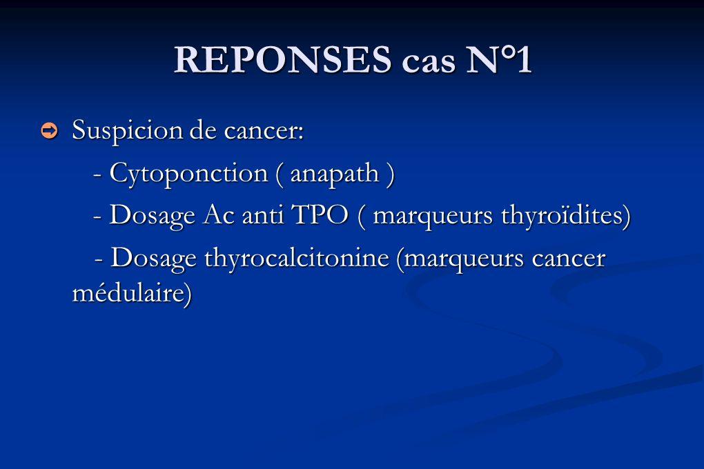 REPONSES cas N°1 Suspicion de cancer: Suspicion de cancer: - Cytoponction ( anapath ) - Cytoponction ( anapath ) - Dosage Ac anti TPO ( marqueurs thyr