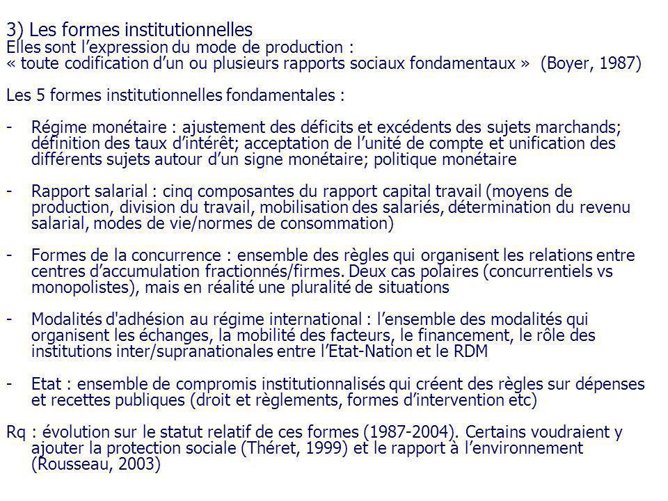 3) Les formes institutionnelles Elles sont lexpression du mode de production : « toute codification dun ou plusieurs rapports sociaux fondamentaux » (