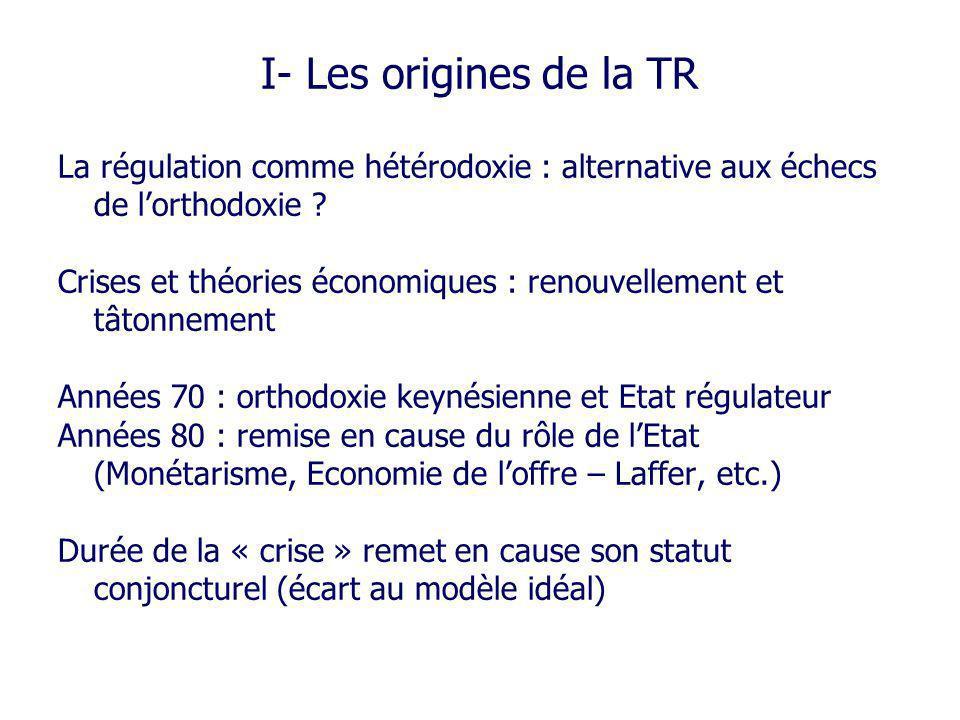 I- Les origines de la TR La régulation comme hétérodoxie : alternative aux échecs de lorthodoxie ? Crises et théories économiques : renouvellement et