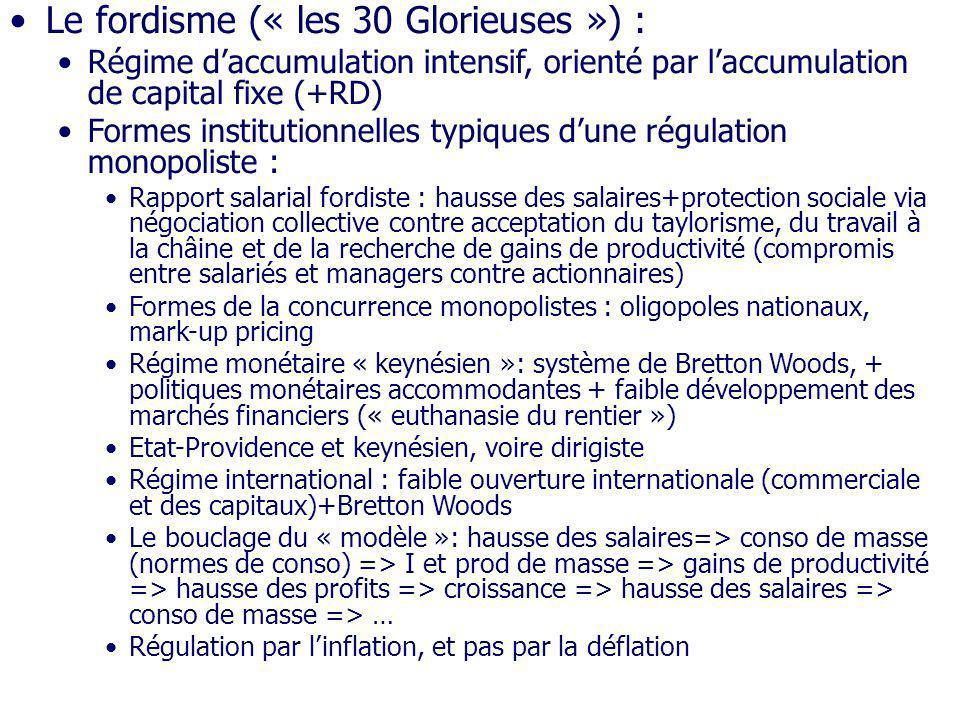 Le fordisme (« les 30 Glorieuses ») : Régime daccumulation intensif, orienté par laccumulation de capital fixe (+RD) Formes institutionnelles typiques