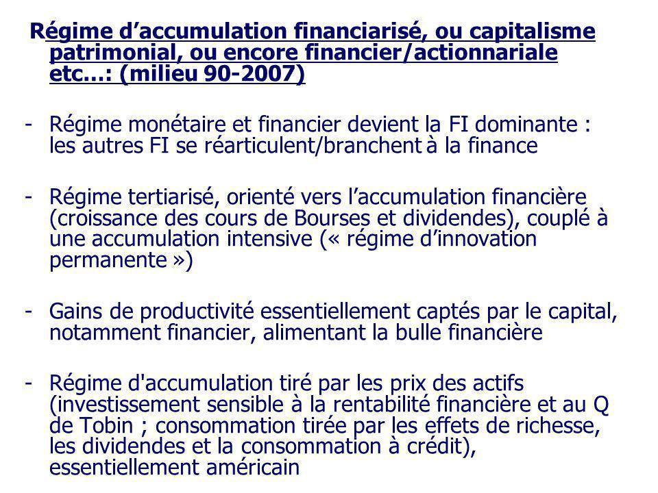 Régime daccumulation financiarisé, ou capitalisme patrimonial, ou encore financier/actionnariale etc…: (milieu 90-2007) -Régime monétaire et financier