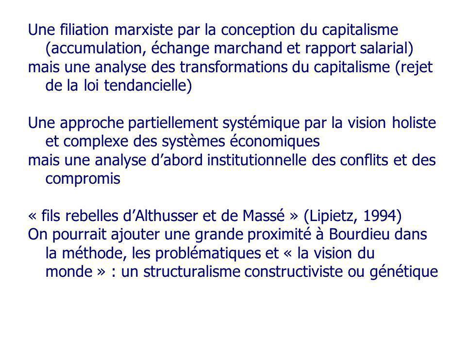 Une filiation marxiste par la conception du capitalisme (accumulation, échange marchand et rapport salarial) mais une analyse des transformations du c