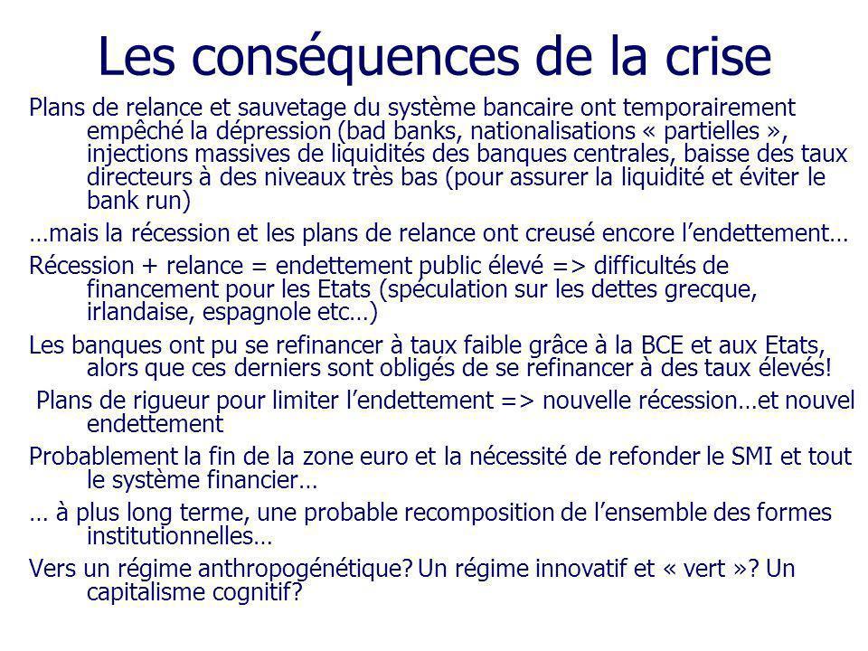 Plans de relance et sauvetage du système bancaire ont temporairement empêché la dépression (bad banks, nationalisations « partielles », injections mas