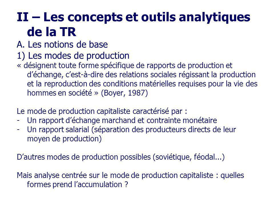 II – Les concepts et outils analytiques de la TR A. Les notions de base 1) Les modes de production « désignent toute forme spécifique de rapports de p