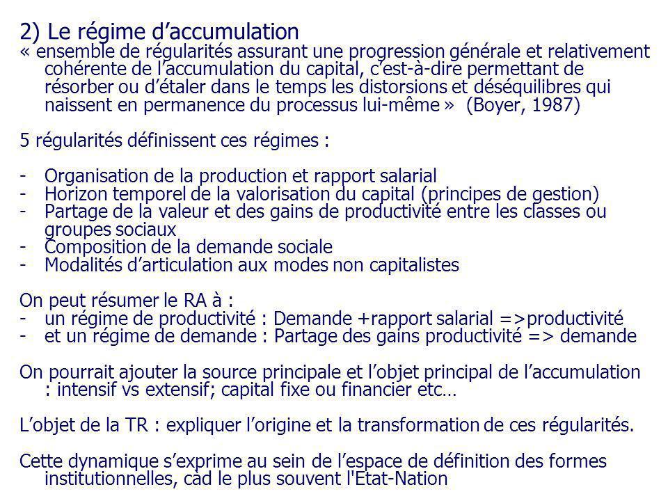 2) Le régime daccumulation « ensemble de régularités assurant une progression générale et relativement cohérente de laccumulation du capital, cest-à-d