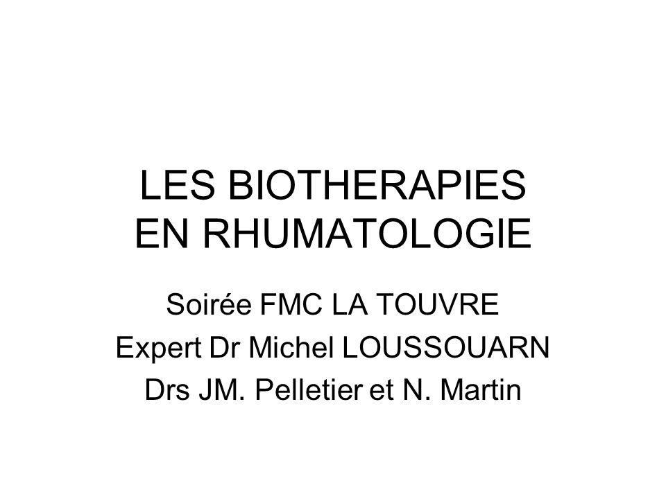 LES BIOTHERAPIES EN RHUMATOLOGIE Soirée FMC LA TOUVRE Expert Dr Michel LOUSSOUARN Drs JM. Pelletier et N. Martin