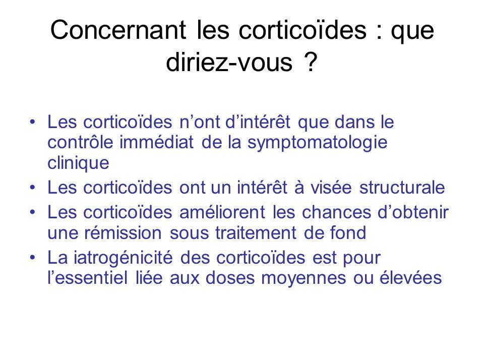 Concernant les corticoïdes : que diriez-vous ? Les corticoïdes nont dintérêt que dans le contrôle immédiat de la symptomatologie clinique Les corticoï