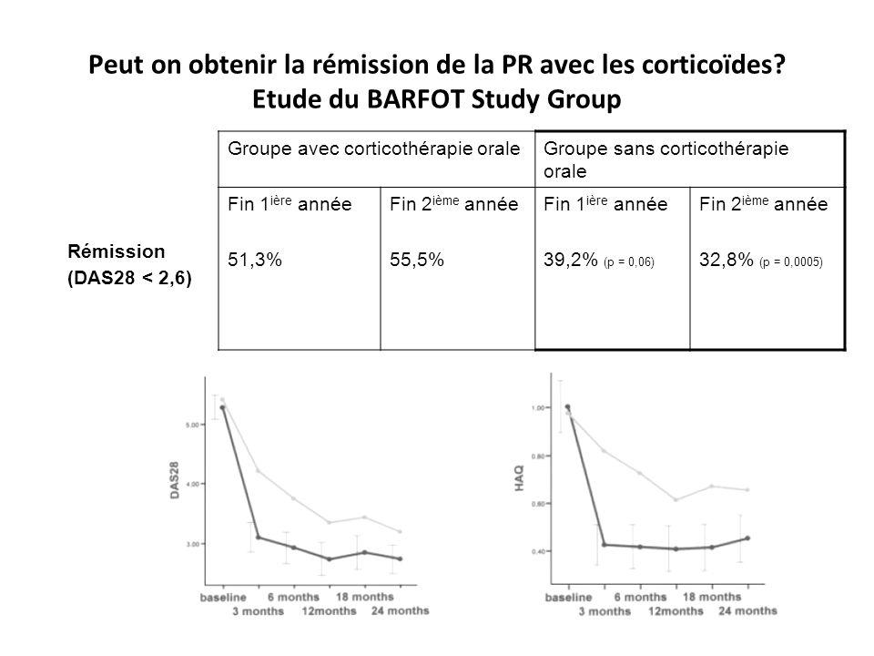 Peut on obtenir la rémission de la PR avec les corticoïdes? Etude du BARFOT Study Group Rémission (DAS28 < 2,6) Groupe avec corticothérapie oraleGroup