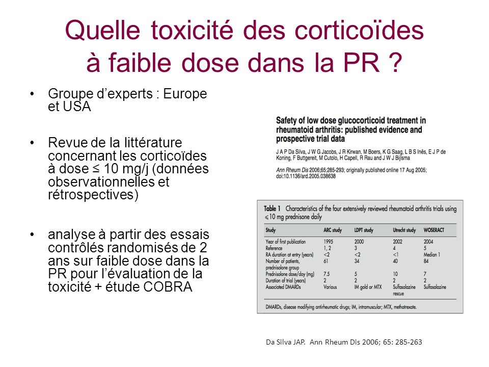 Quelle toxicité des corticoïdes à faible dose dans la PR ? Groupe dexperts : Europe et USA Revue de la littérature concernant les corticoïdes à dose 1