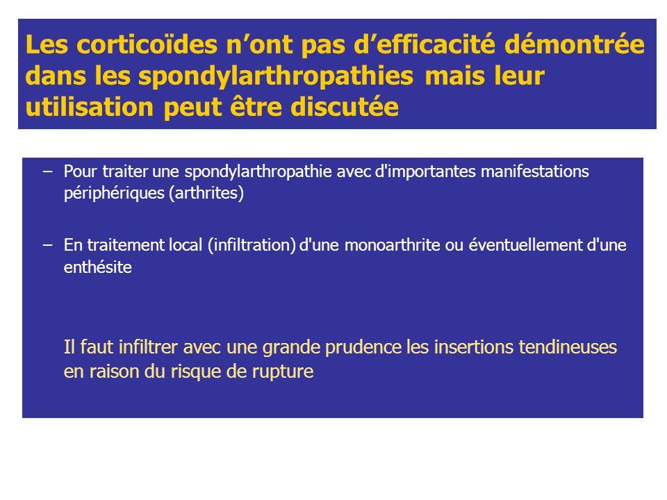Les corticoïdes nont pas defficacité démontrée dans les spondylarthropathies mais leur utilisation peut être discutée –Pour traiter une spondylarthrop
