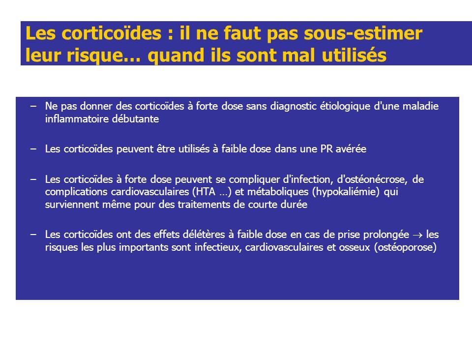 Les corticoïdes : il ne faut pas sous-estimer leur risque… quand ils sont mal utilisés –Ne pas donner des corticoïdes à forte dose sans diagnostic éti