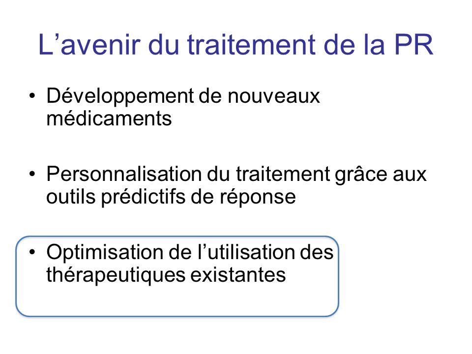 Lavenir du traitement de la PR Développement de nouveaux médicaments Personnalisation du traitement grâce aux outils prédictifs de réponse Optimisatio