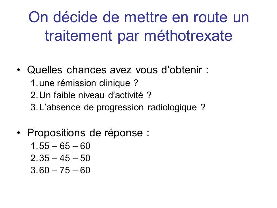 On décide de mettre en route un traitement par méthotrexate Quelles chances avez vous dobtenir : 1.une rémission clinique ? 2.Un faible niveau dactivi
