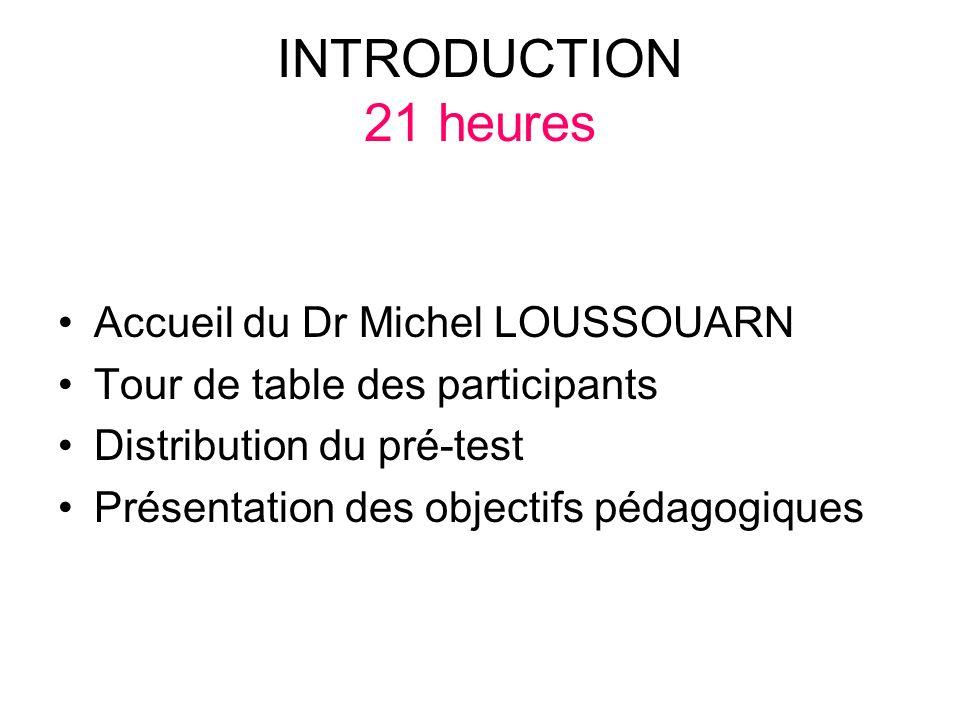 INTRODUCTION 21 heures Accueil du Dr Michel LOUSSOUARN Tour de table des participants Distribution du pré-test Présentation des objectifs pédagogiques