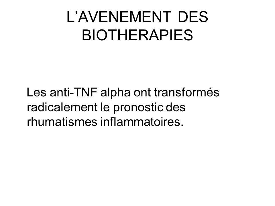 LAVENEMENT DES BIOTHERAPIES Les anti-TNF alpha ont transformés radicalement le pronostic des rhumatismes inflammatoires.