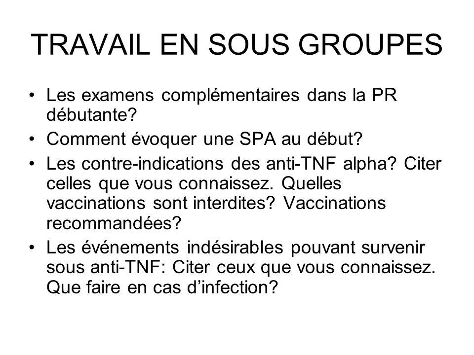 TRAVAIL EN SOUS GROUPES Les examens complémentaires dans la PR débutante? Comment évoquer une SPA au début? Les contre-indications des anti-TNF alpha?