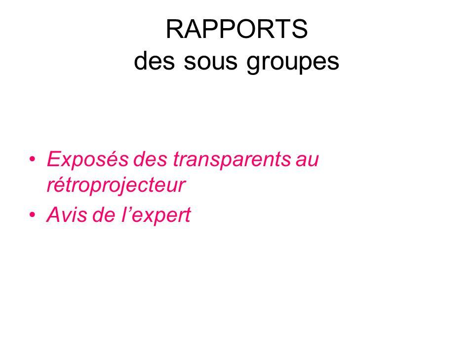 RAPPORTS des sous groupes Exposés des transparents au rétroprojecteur Avis de lexpert