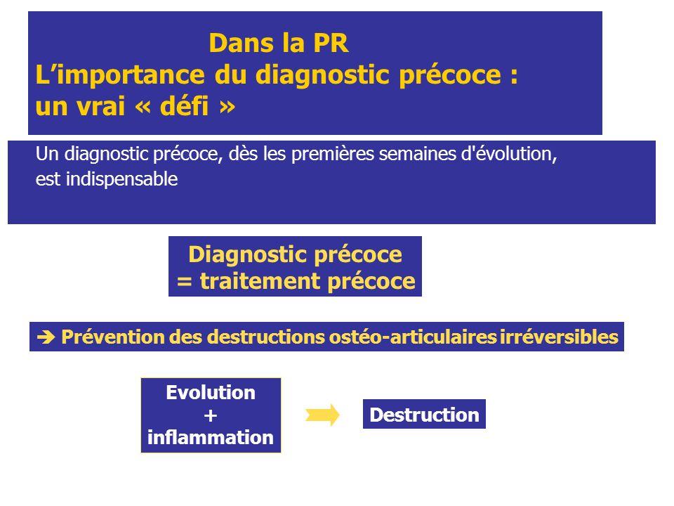 Dans la PR Limportance du diagnostic précoce : un vrai « défi » Un diagnostic précoce, dès les premières semaines d'évolution, est indispensable Diagn