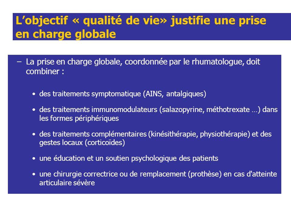 Lobjectif « qualité de vie» justifie une prise en charge globale –La prise en charge globale, coordonnée par le rhumatologue, doit combiner : des trai