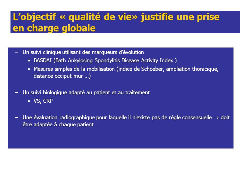Lobjectif « qualité de vie» justifie une prise en charge globale –Un suivi clinique utilisant des marqueurs d'évolution BASDAI (Bath Ankylosing Spondy