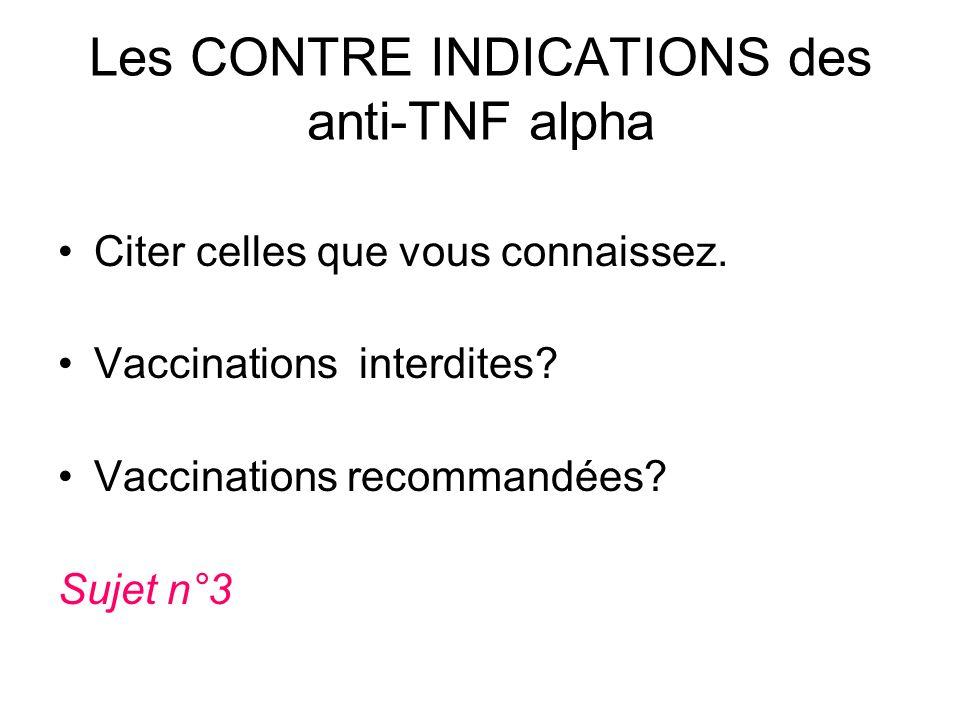 Les CONTRE INDICATIONS des anti-TNF alpha Citer celles que vous connaissez. Vaccinations interdites? Vaccinations recommandées? Sujet n°3