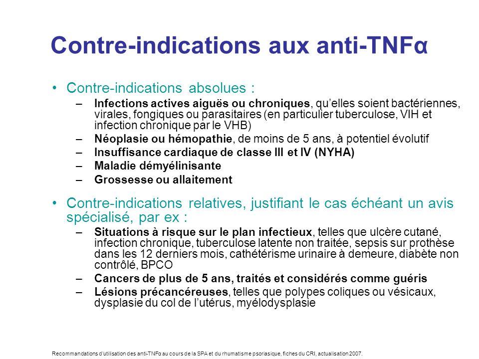 Recommandations dutilisation des anti-TNFα au cours de la SPA et du rhumatisme psoriasique, fiches du CRI, actualisation 2007. Contre-indications aux