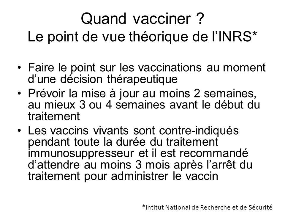 Quand vacciner ? Le point de vue théorique de lINRS* Faire le point sur les vaccinations au moment dune décision thérapeutique Prévoir la mise à jour