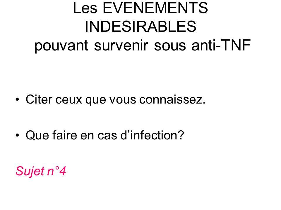 Les EVENEMENTS INDESIRABLES pouvant survenir sous anti-TNF Citer ceux que vous connaissez. Que faire en cas dinfection? Sujet n°4