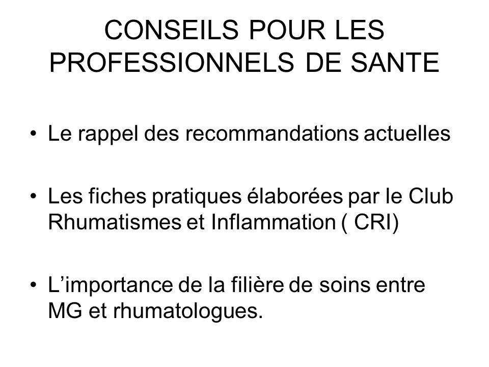 CONSEILS POUR LES PROFESSIONNELS DE SANTE Le rappel des recommandations actuelles Les fiches pratiques élaborées par le Club Rhumatismes et Inflammati