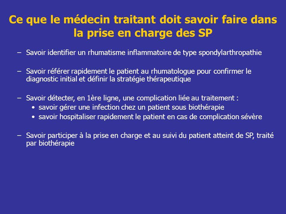 Ce que le médecin traitant doit savoir faire dans la prise en charge des SP –Savoir identifier un rhumatisme inflammatoire de type spondylarthropathie