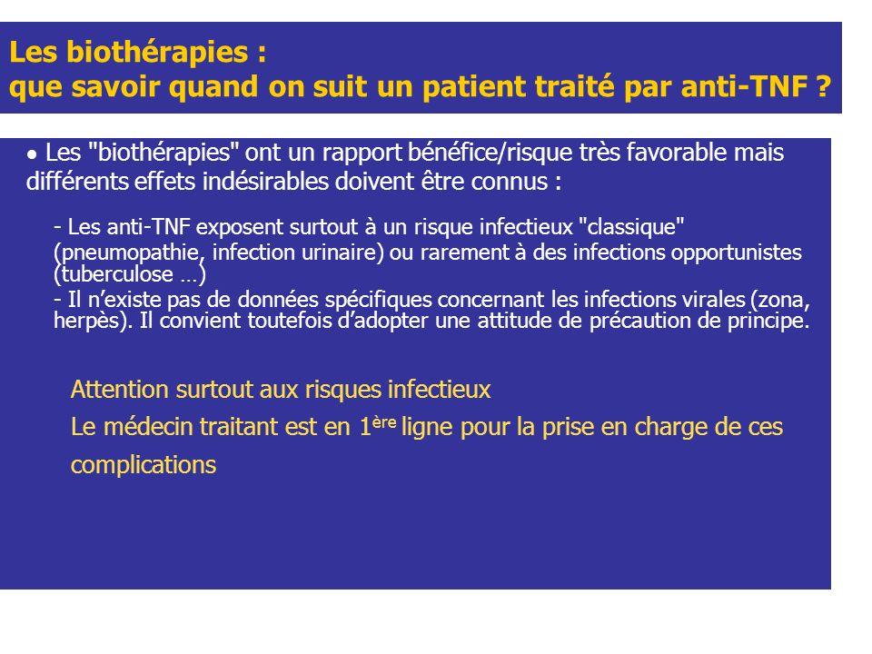 Les biothérapies : que savoir quand on suit un patient traité par anti-TNF .