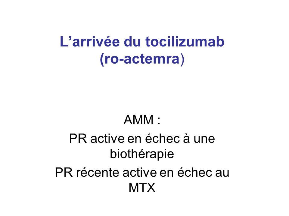 Larrivée du tocilizumab (ro-actemra) AMM : PR active en échec à une biothérapie PR récente active en échec au MTX