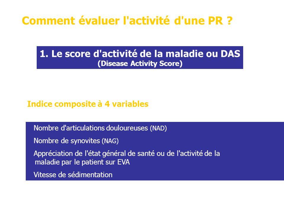 Fondés sur le niveau de lactivité de la maladie (scores DAS et DAS28) et les modifications du score DAS ou DAS28.