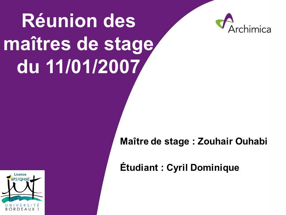 Service EHSARevue de Direction HSE – 19 décembre 2006 Réunion des maîtres de stage du 11/01/2007 Maître de stage : Zouhair Ouhabi Étudiant : Cyril Dom